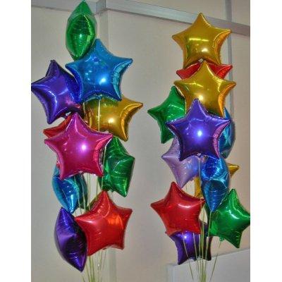 Арт.267 Фольгированные шары «Звезды, сердца, круги»  цвет на выбор
