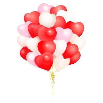"""Арт.017 Запуск  воздушных шаров """"Сердца большие"""" 100 шт."""