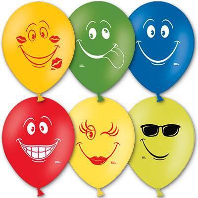 Арт.150 Воздушные шарики с гелием «Улыбки» разноцветные, BelBal, Бельгия