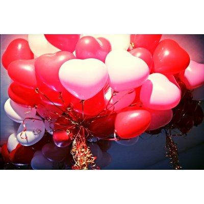 Арт.170 Воздушные шары с гелием «Сердечки кристалл» 50 шт.