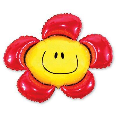 Арт.181 Фольгированный воздушный шарик с гелием  «Цветок красный », FLEX, Испания