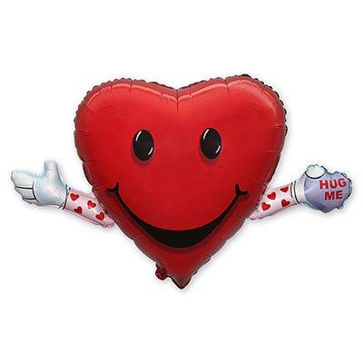 Арт.188 Фольгированный воздушный шар с гелием   «Сердце с руками», Flex, Испания