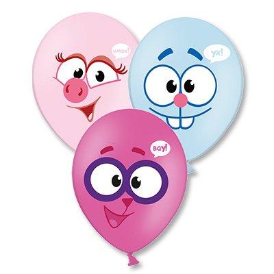 Арт.222 Воздушные шары с гелием 4 цветов  «Улыбки Смешарики», 25 шт.