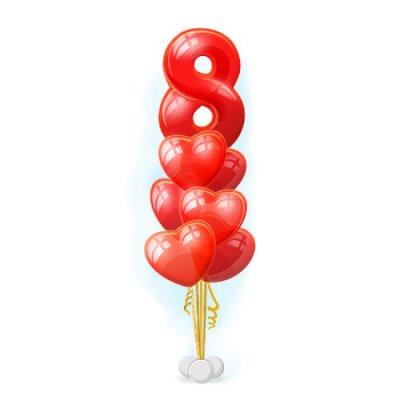 Арт.254 Стойка из шаров «8 марта Сердца» 6 шт. с доставкой