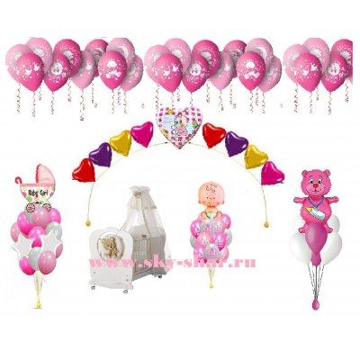 Арт.273 Воздушные шары на Выписку из роддома «Ура, доченька»