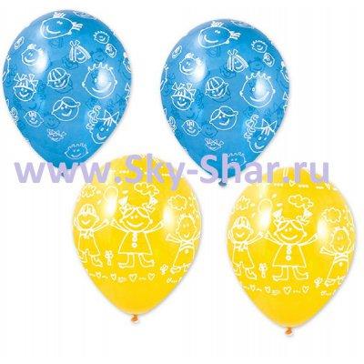 Арт.329 Воздушные шарики для детей «Милые Улыбки » ассорти 25 шт.