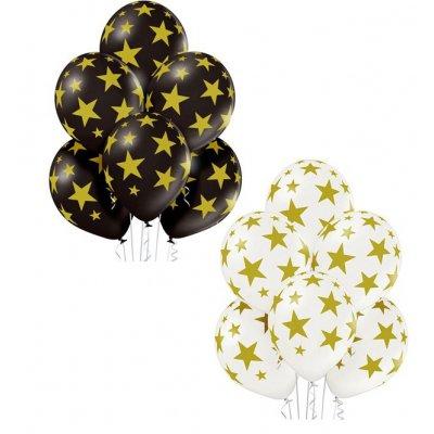 Арт.352 Шары гелиевые с рисунком  «Золотые звезды» 25 шт.