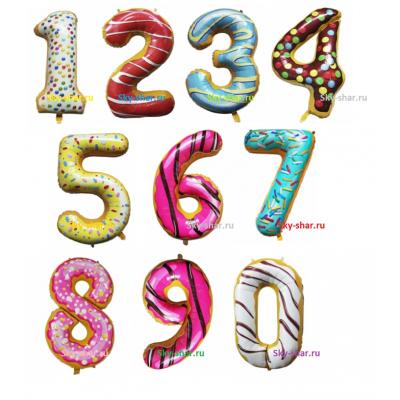 Арт.445 Цифра фольгированная «Пончики» от 0 до 9