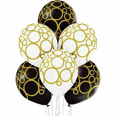 Арт.449 Шары черно-белые «Золотые круги» 25 шт.