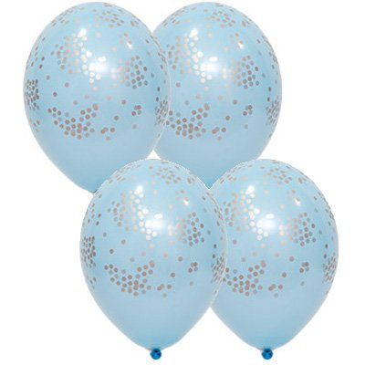 Арт.457 Шары под потолок голубые с серебристым конфетти, 25 шт.