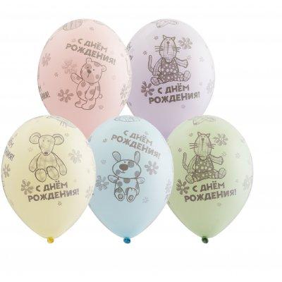 Арт.469 Воздушные шары с Днем Рождения «Плюшевые игрушки» 25 шт.