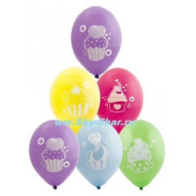 Арт.471 Шары для девочки на День Рождения «Кексы» 25 шт